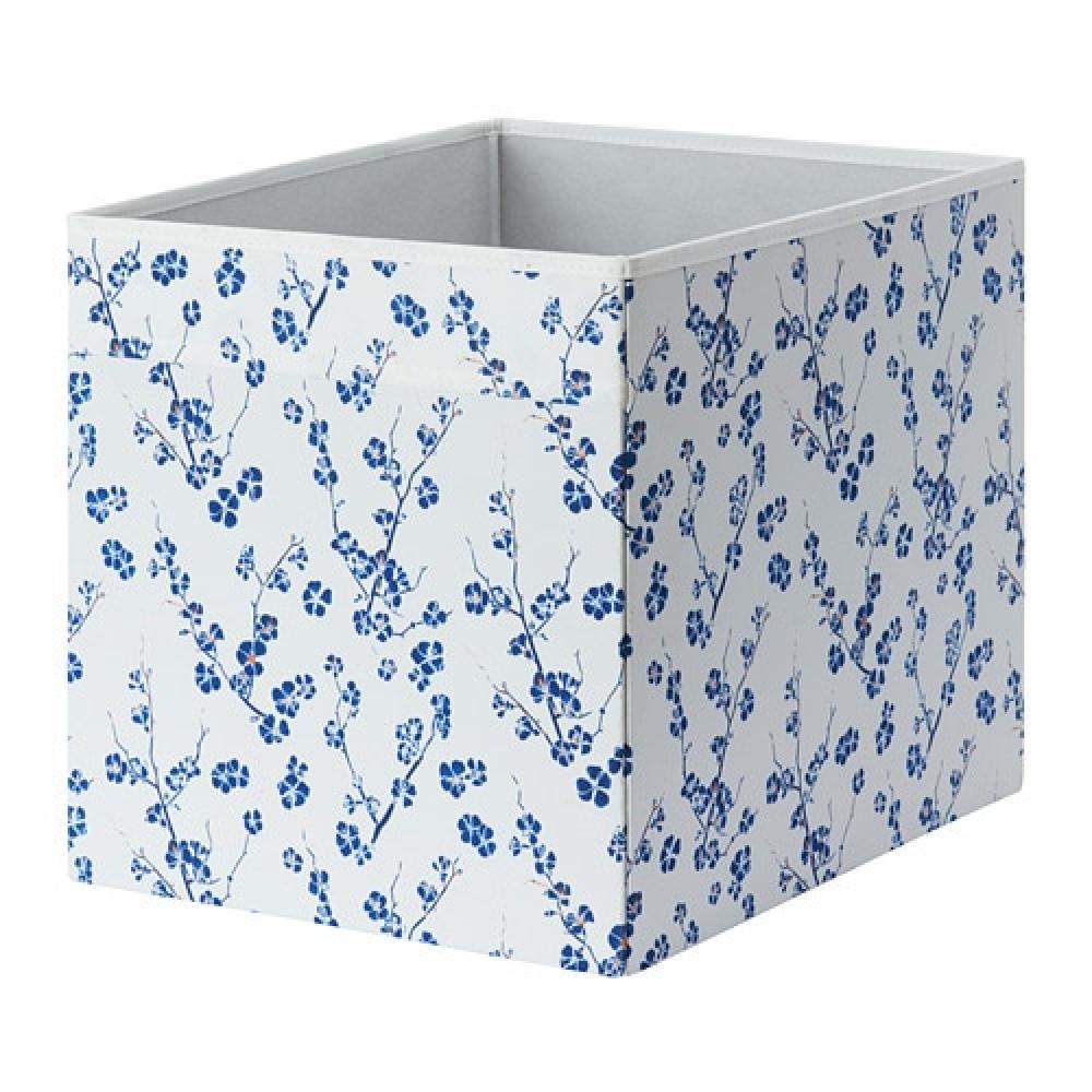 Коробка ДРЁНА белый, синий с цветочным орнаментом  фото 1
