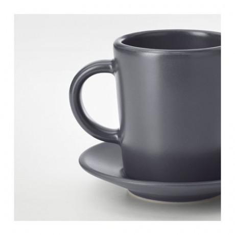 Чашка для кофе эспрессо с блюдцем ДИНЕРА темно-серый фото 1